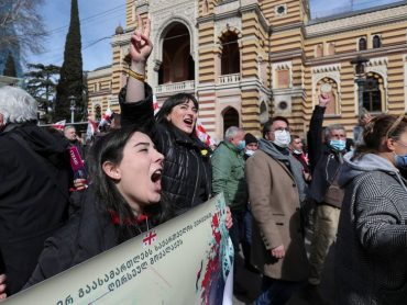 Georgians take to the streets to protest at opposition leader's detention